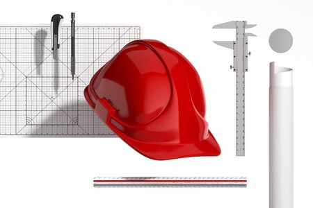 Photo pour Red Realistic Construction Helmet, Calliper, Ruler, Drawing tube, Pencil, Cutter Knife And Cutting Mat On White Background. Minimalism Concept. 3d Rendering. - image libre de droit