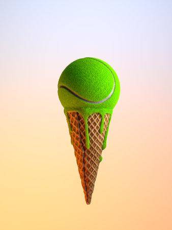 Foto de Minimal diet and healthy concept. Ice-cream cone with tennis ball instead unhealthy food. High quality 3d illustration. - Imagen libre de derechos