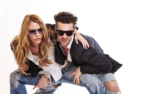 Photo pour sexy young couple in funny position - image libre de droit