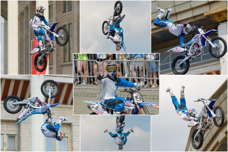 """RUSSIA, MOSCOW-JULY 13: Leading motofristayler Russia Alexey Kolesnikov at the sports festival """"Moscow City Games 2013"""" in the program Moto Freestyle (FMX) in Moscow, Arena """"Luzhniki»; on July 13, 2013"""