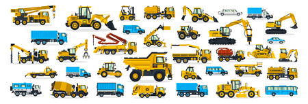 Illustration pour A large set of construction equipment, transportation for the construction site, cargo truck, bus, excavator, crane, tractor. Machines for building services. Shipping by cars. Vector illustration - image libre de droit