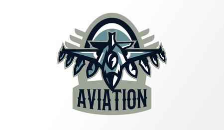 Colorful logo, badge, emblem of military fighter plane. Aircraft, air patrol, aviation, sky defenders, bomber, rockets, shield, lettering. Vector illustration