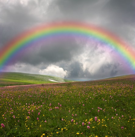 rainbow on dark sky background