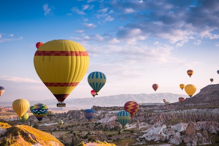 Hot air balloons fly over Cappadocia is known around the world as one of the best places to fly with hot air balloons, Goreme, Cappadocia, Turkey.