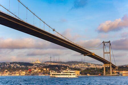 Bosphorus Sultan Mehmet Bridge in Istanbul at sunset. Turkey