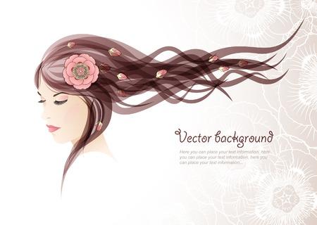 Vektor für The girl with colors in hair - Lizenzfreies Bild