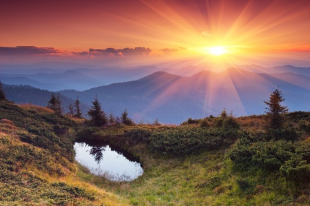Landscape in the mountains with the sunset. Ukraine, the Carpathian mountains