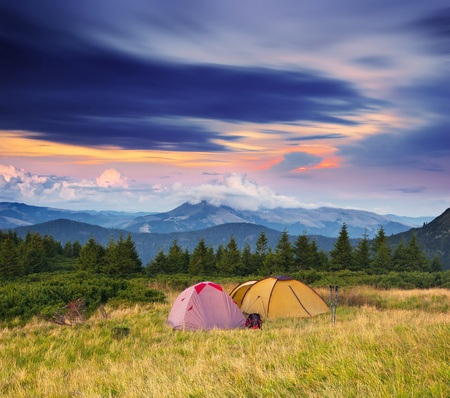 Photo for Landscape in the mountains camping. Ukraine, the Carpathian mountains - Royalty Free Image