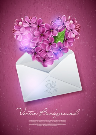 Heart of lilac flowers in an envelope. An illustration on a theme of Valentine's day