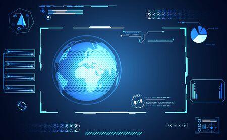 Illustration pour Abstract health medical world ui futuristic hud interface hologram science healthcare icon digital technology science concept modern innovation,Treatment,medicine on hi tech future blue background - image libre de droit