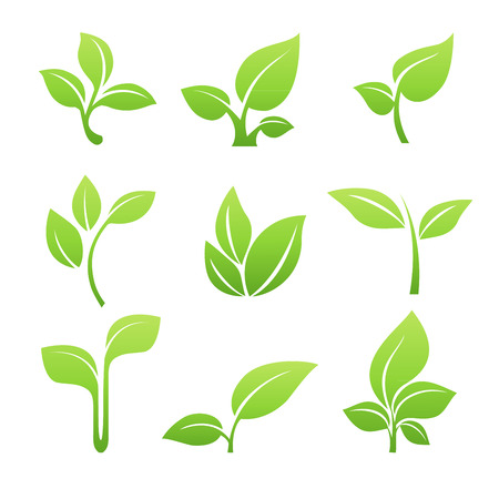 Illustration for Green sprout symbol icon set - Royalty Free Image
