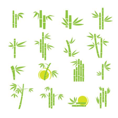 Green bamboo symbol icons set