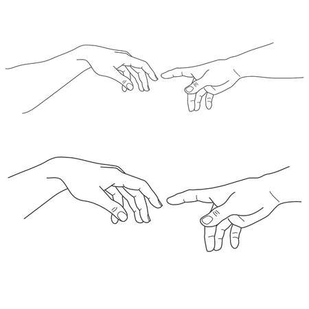 Adam and God hands, touch, hope and help, assistance and support religion, vector illustration