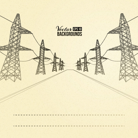 Electric pylons in perspective  Vector illustration