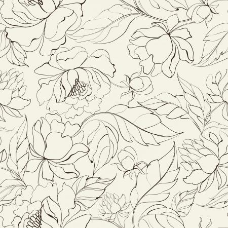 Illustration pour Seamless floral pattern with Peony  Vector illustration  - image libre de droit