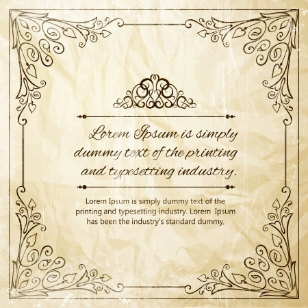 Ornate frame for invitations or announcements  Vector illustration