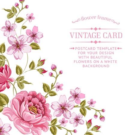 Illustration pour Luxurious color peony background with a vintage label. Vector illistration. - image libre de droit