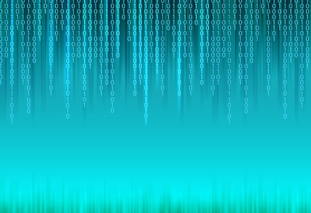 Abstract binary code on blue background of Matrix style.