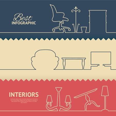 Illustrazione per Flat colors infographics with interior design elements. Vector illustration. - Immagini Royalty Free