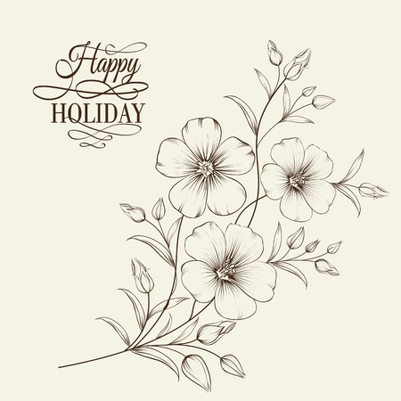Linum flower isolated over gray background. Vector illustration.