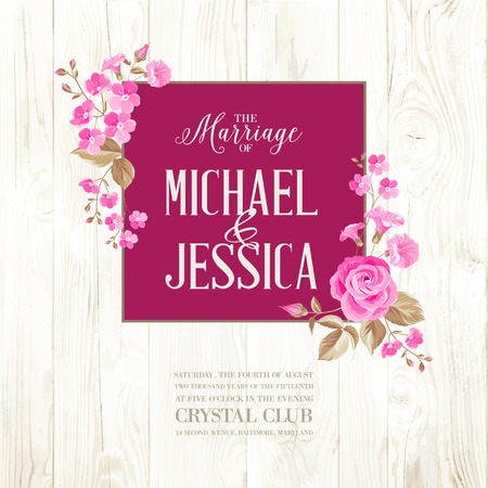 Marriage invitation card with custom sign and flower frame over wooden background. Vector illustration.
