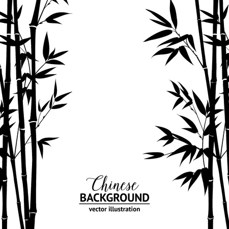 Illustration pour Bamboo bush, ink painting over white background. Vector illustration. - image libre de droit