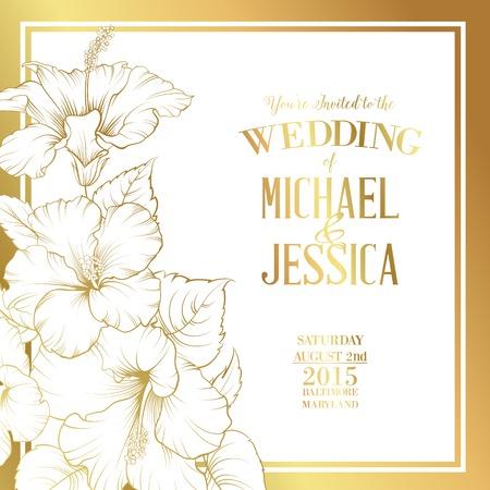Illustration pour Golden card with wedding invitation text and bouquet of hibiscus flowers. Vector illustration. - image libre de droit