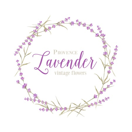 Lavender wreath with calligraphic text for card design. Vector illustration.