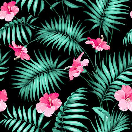 Illustration pour Tropical flowers and jungle.  - image libre de droit