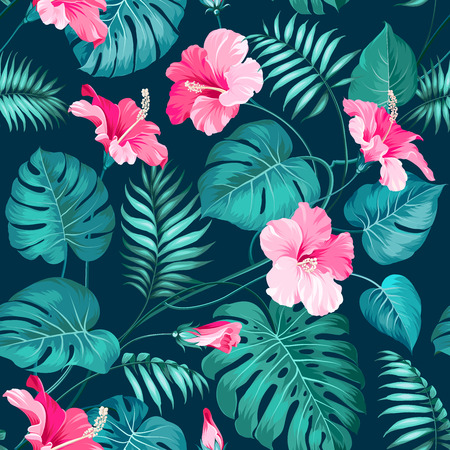 Tropical flower seamless pattern. Blossom flowers for nature background. Vector illustration.のイラスト素材