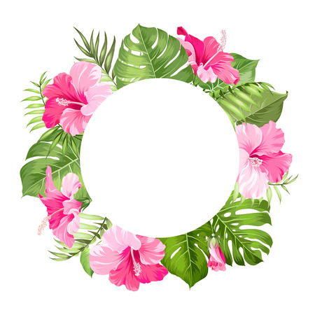 Illustration pour Tropical flower frame for your card design with clear space for text. Vector illustration. - image libre de droit