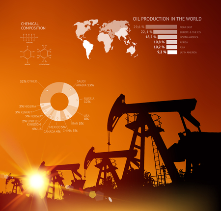 Oil derrick infographic with stages of process oil production.