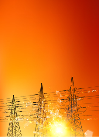 Illustration pour Electrical pylons over sunset background. Electrical transmission line of with bright spark. Polygonal form with dots and lines. Vector illustration. - image libre de droit