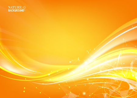 Orange background with polygonal network element and fantastic light.