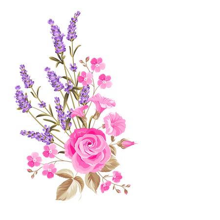 Ilustración de Single rose bouquet. Gentle vintage card with hand drawn floral wreath in watercolor style of lavender. Vector illustration. - Imagen libre de derechos
