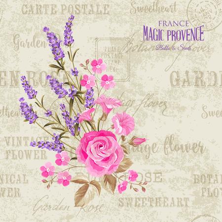 The lavender elegant card  Backdrop of postal stamps and