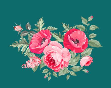 Illustration pour The poppy elegant card. The bouquet of poppy flowers. Small floral garland. Vector illustration. - image libre de droit