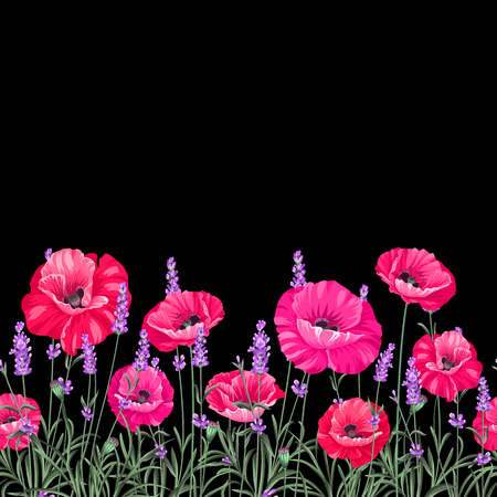 Illustration for Pattern of poppy flowers over black background. Luxurious color poppy flowers. Textile for a vintage label design. Vector illustration. - Royalty Free Image
