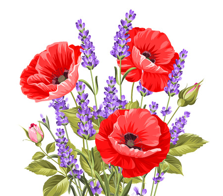 Illustration pour I love you card. Bunch of lavender and poppy flowers on a gray background. Lavender and poppy card for paper, label and other printing or web projects. Label with poppy flowers. Vector illustration. - image libre de droit