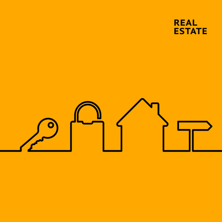 Estate line infographics for your design with key and lock elements over orange background. Vector illustration.
