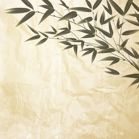 Illustration pour Bamboo bush, ink painting over crumpled paper background. Leaves of bamboo tree - the symbol of japanese garden. Vector illustration. - image libre de droit