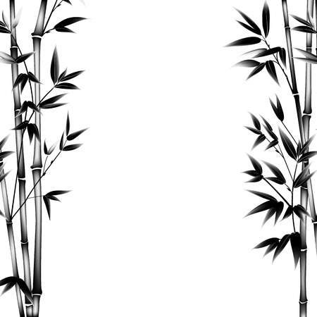 Ink paint bamboo bush. Decorative bamboo branches. Card with black bamboo plants isolated on white background. illustration.