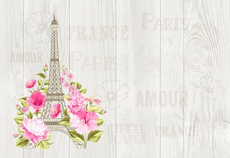 Illustration for Eiffel tower icon with spring blooming flowers over gray text pattern with sign Paris souvenir. Vector illustration. - Royalty Free Image