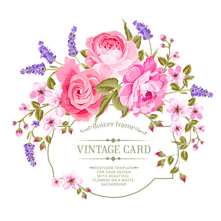 Illustration for Spring flowers bouquet for vintage card. Pink peony with a vintage label isolated over white background. Vector illustration. - Royalty Free Image