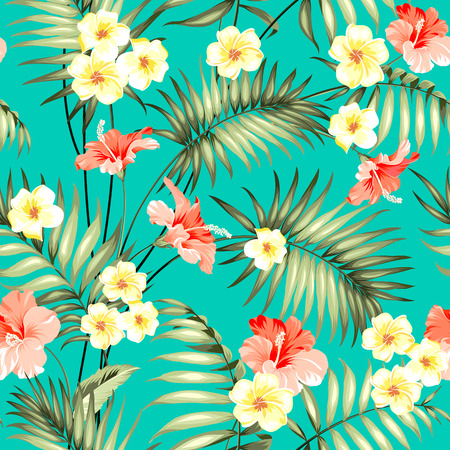 Ilustración de Tropical design for fabric swatch. Topical palm leaves and beautiful plumeria flowers on seamless patten over green background. Vector illustration. - Imagen libre de derechos