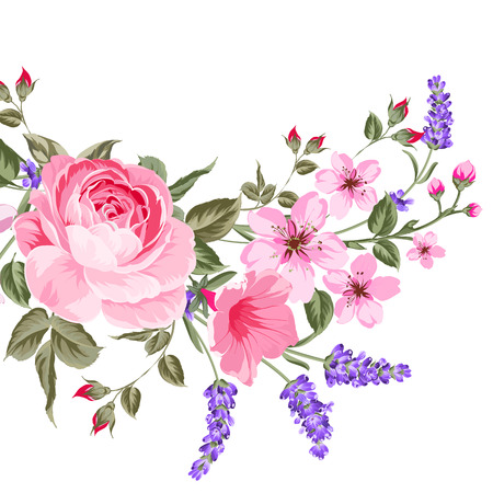Illustration pour The lavender elegant card. Botanical illustration of provence lavender. Bouquet of red flowers and lavender in vintage style. Card with custom sign and place for your text.  illustration. - image libre de droit