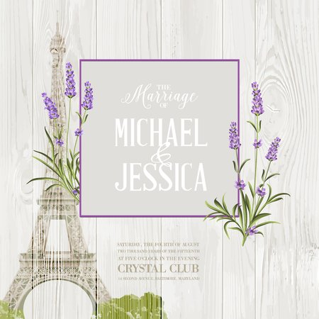 Illustration pour Marriage invitation card with floral garland and calligraphic text. Eiffel tower with blooming spring flowers over old wooden background. Vector illustration. - image libre de droit