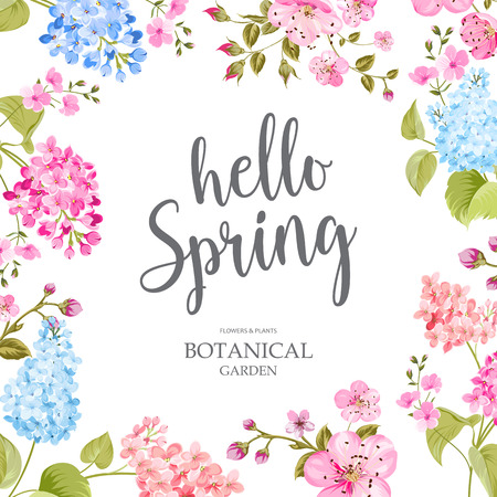 Spring time concept of card with blooming flowers isolated over blue background. Vector illustration.