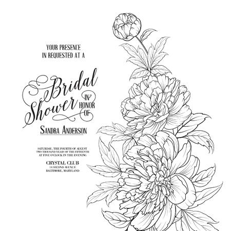Illustration pour Awesome vintage label. Bridal Shower Card announcement. Line contour of flowers. Vector illustration. - image libre de droit