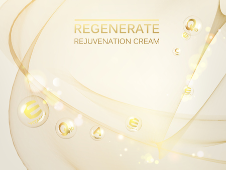 Science illustration of a cream molecule. Regenerate face cream and Vitamin complex concept. Organic cosmetic and skin care cream. Beauty skin care design over silver background. Vector illustration.